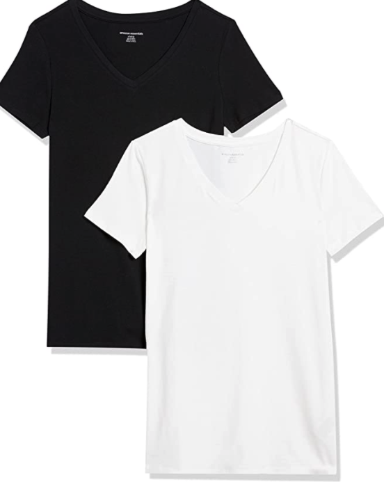 Amazon Essentials Women's 2-Pack V-Neck Classic-fit Short-Sleeve Tee Shirt